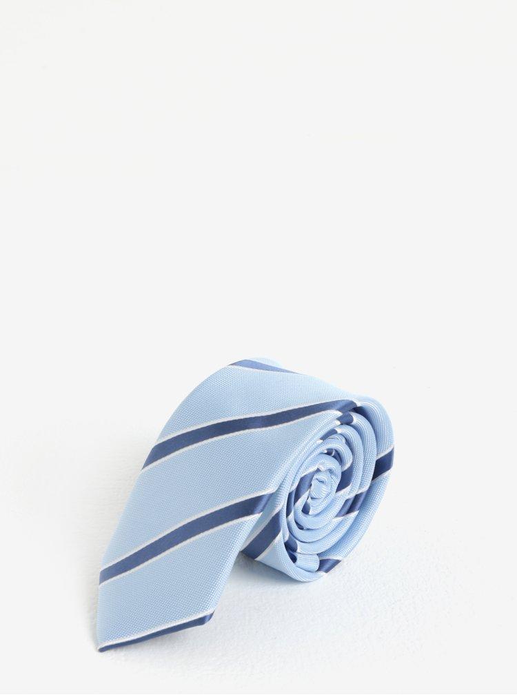Cravata slim cut bleu cu model in dungi - Burton Menswear London