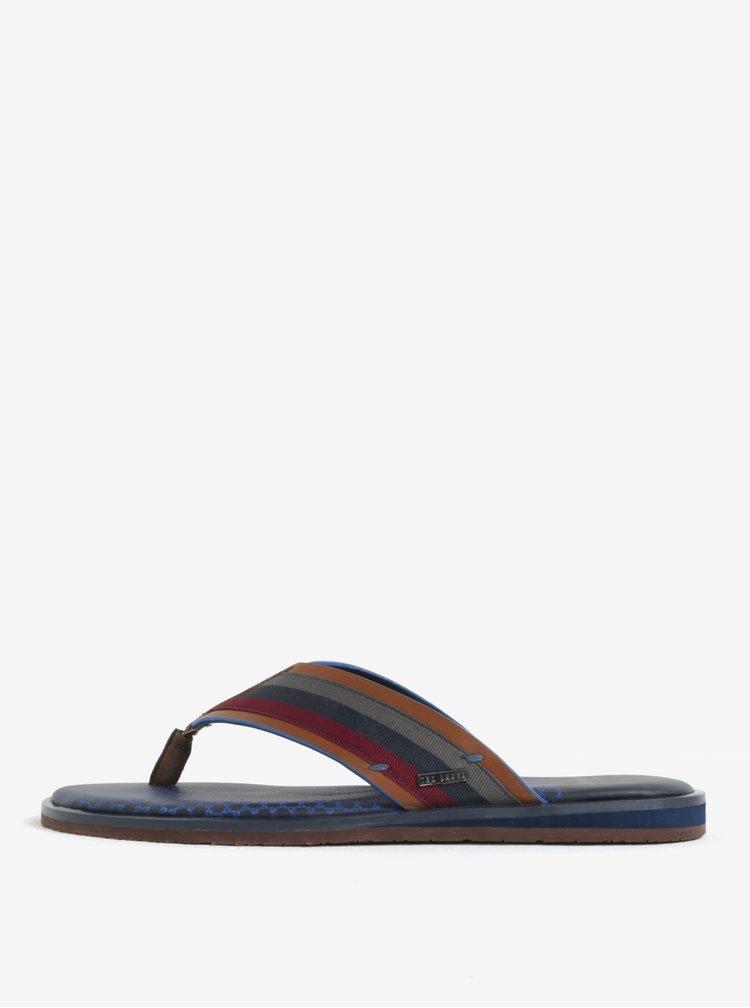 Papuci flip flop maro din piele pentru barbati - Ted Baker Knowlun