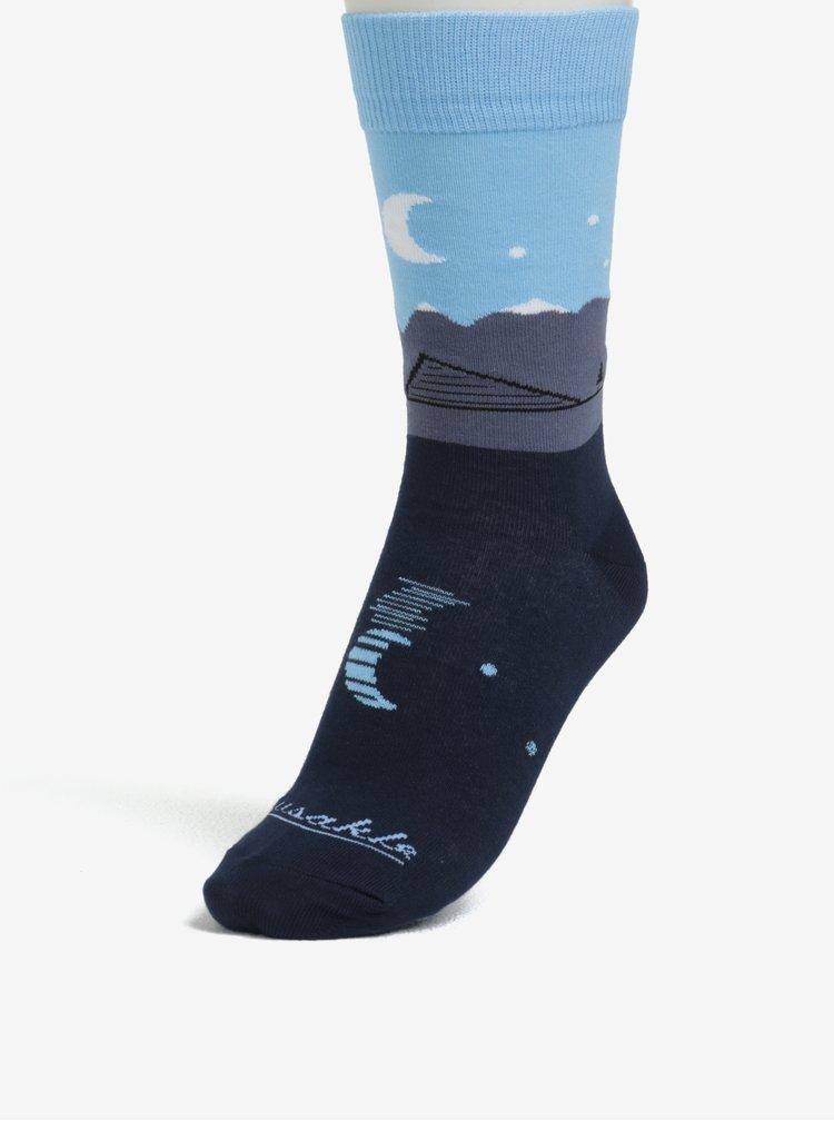 Tmavě modré unisex ponožky se vzorem Fusakle Štrbské pleso