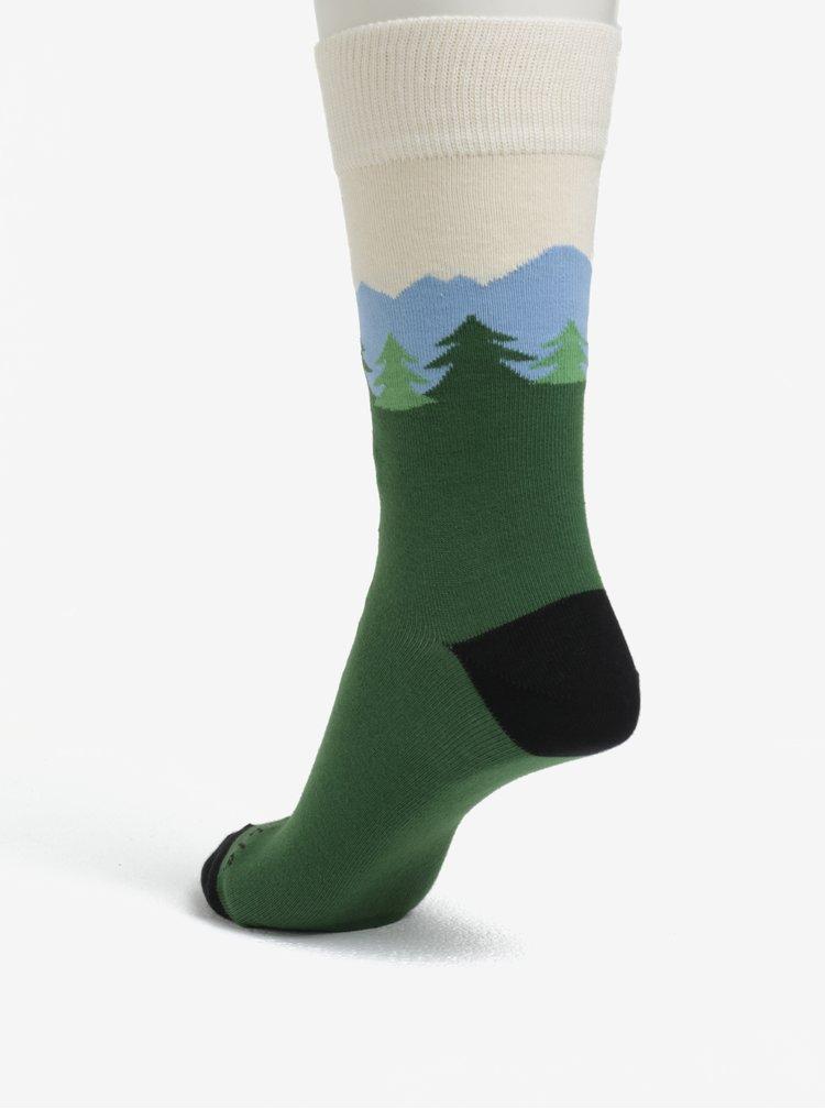 Tmavě zelené unisex ponožky s motivem lanovky Fusakle Hrebienok