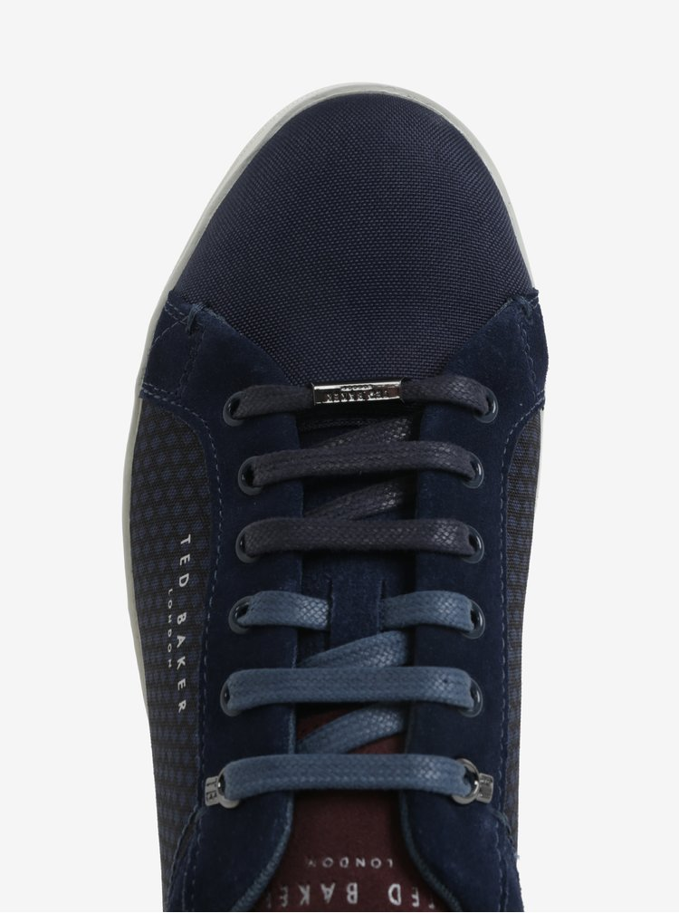 Pantofi sport bleumarin cu detalii din piele intoarsa pentru barbati -  Ted Baker Sarpio