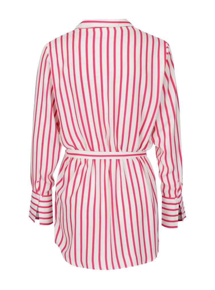 Růžovo-krémová pruhovaná košile s páskem Jacqueline de Yong Fancy