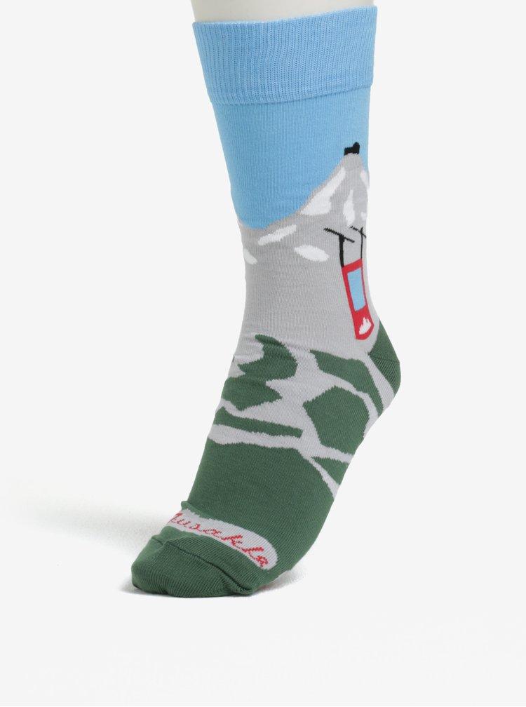 Modro-zelené unisex ponožky s motivem hor Fusakle Lomničák