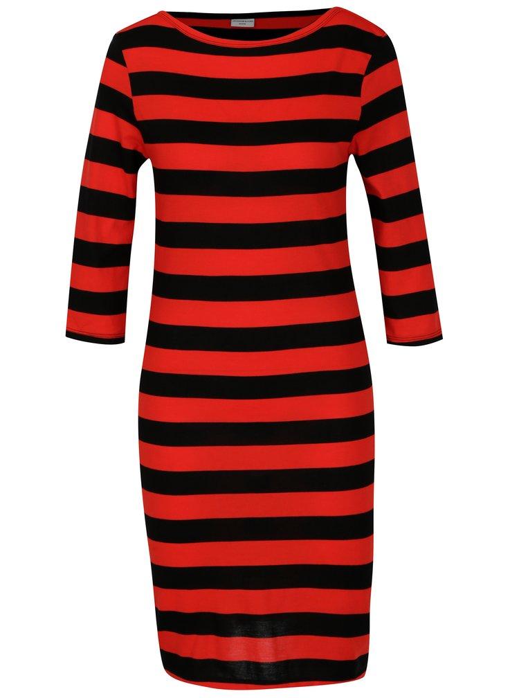 Černo-červené pruhované šaty Jacqueline de Yong Bug