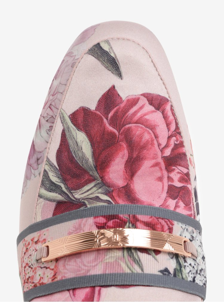 Růžové dámské květované pantofle Ted Baker Klovar