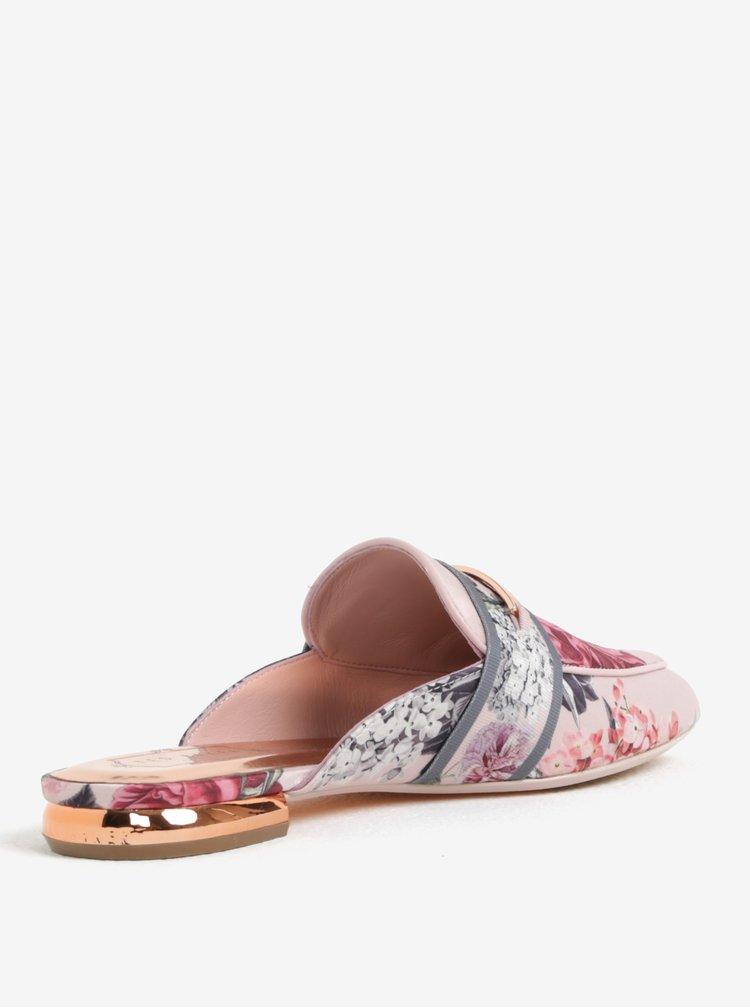 Pantofi roz tip mules cu print floral Ted Baker Klovar
