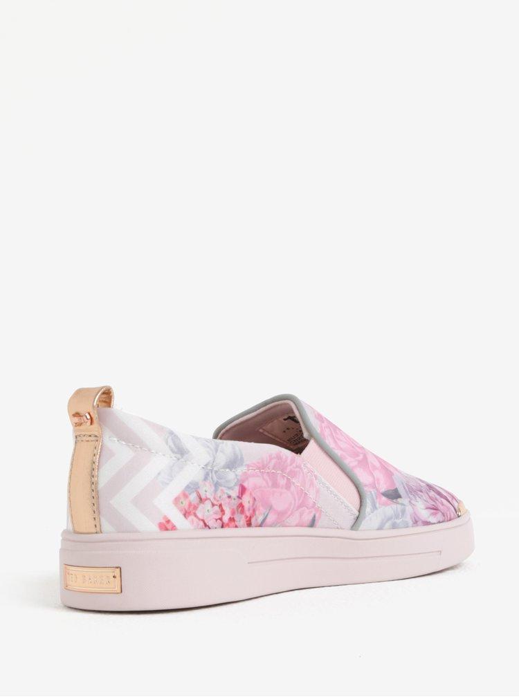 Pantofi slip on cu print floral si platforma Ted Baker Tancey