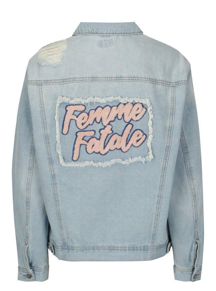 Modrá džínová bunda s potrhaným efektem a výšivkou ONLY Caroline