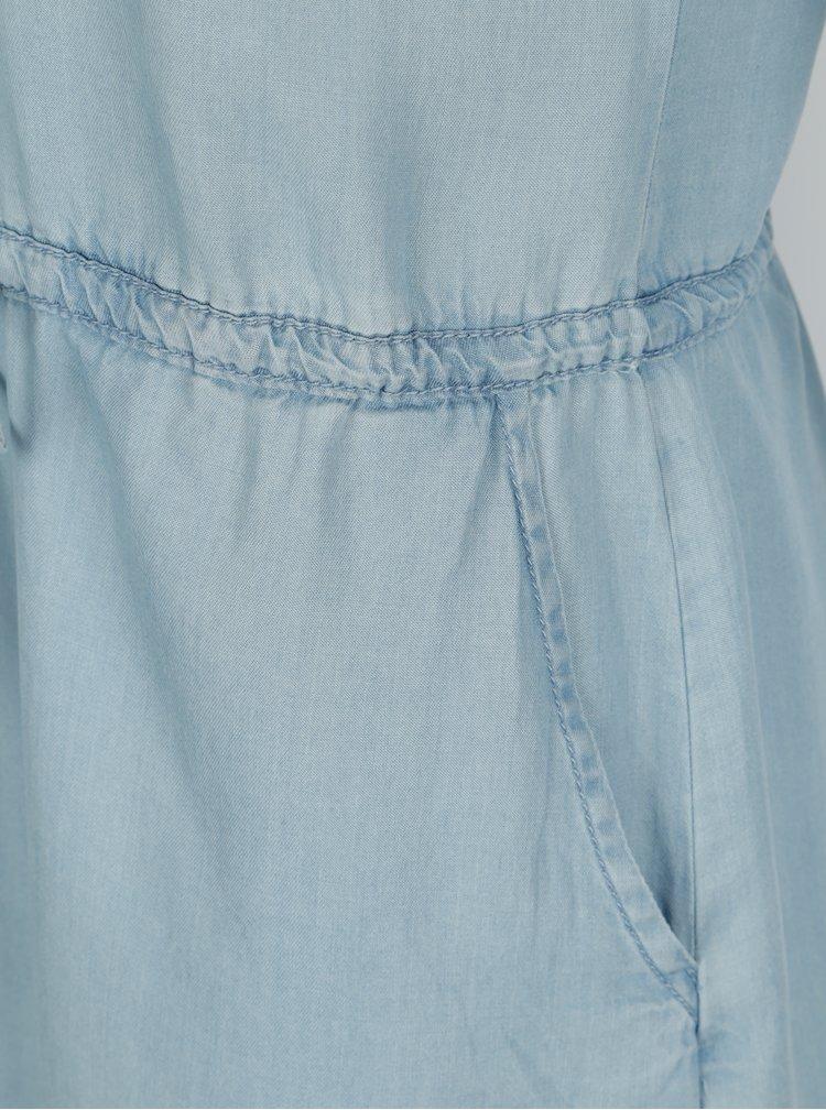 Modré džínové košilové šaty s dlouhým rukávem ONLY Heather