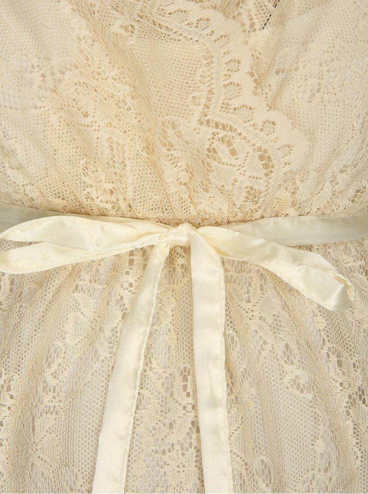 Krémové krajkové těhotenské midi šaty Mama.licious Hill