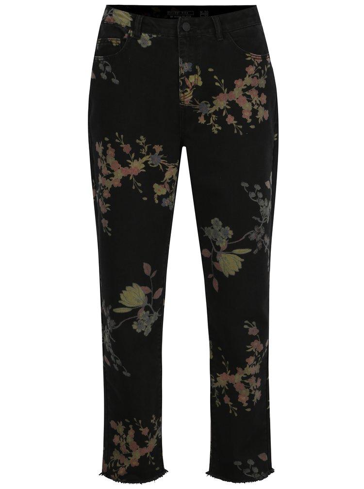 Černé květované zkrácené straight džíny Noisy May Taylor