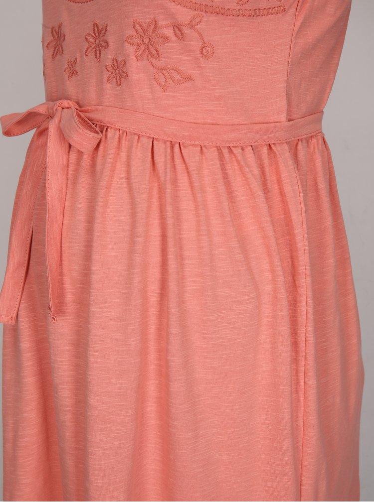 Korálové těhotenské žíhané šaty s výšivkou Mama.licious Rosalina