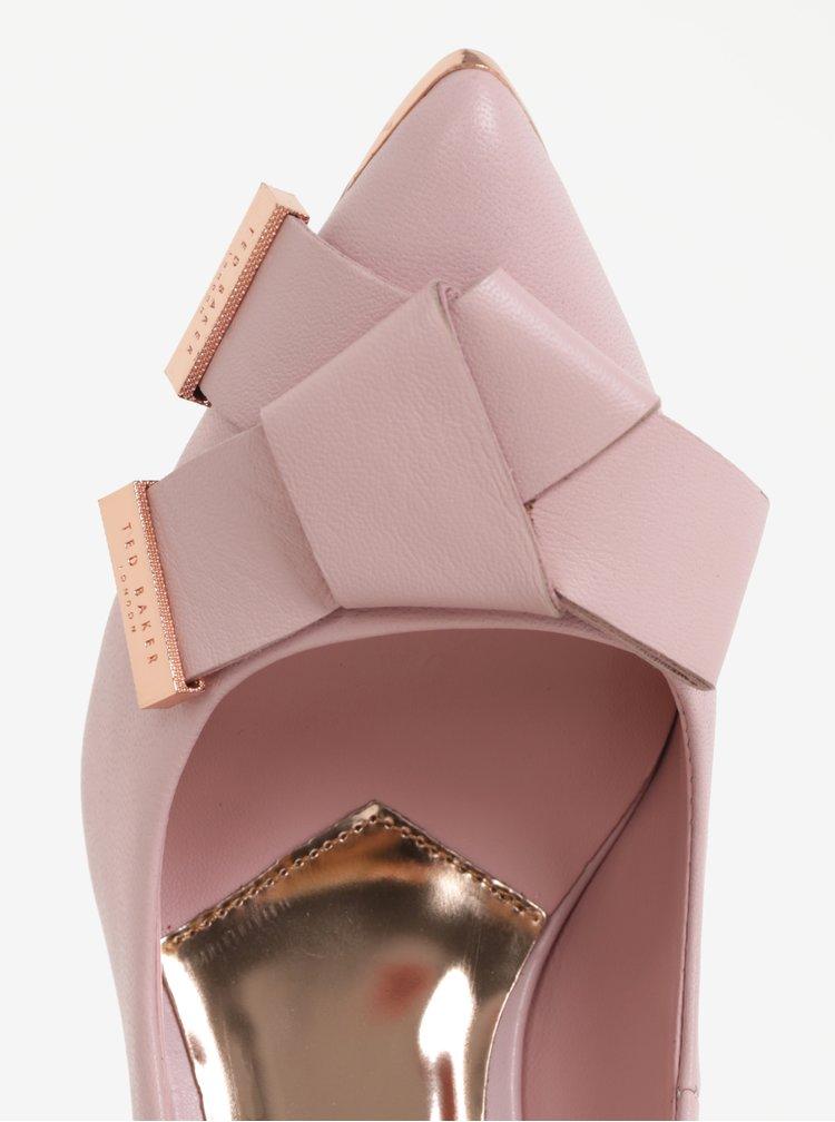 Růžové kožené lodičky s mašlí Ted Baker Ayelar
