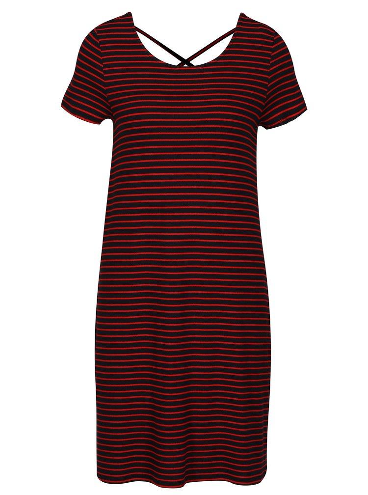 Červeno-modré pruhované šaty ONLY Bera