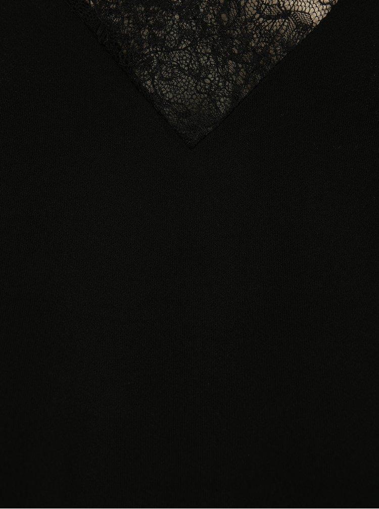 Top negru cu aplicatie de dantela VERO MODA Milla