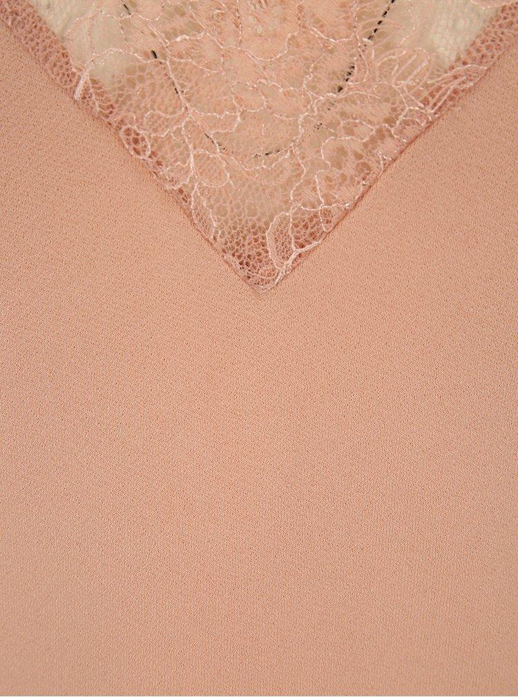 Top roz prafuit cu aplicatie de dantela VERO MODA Milla