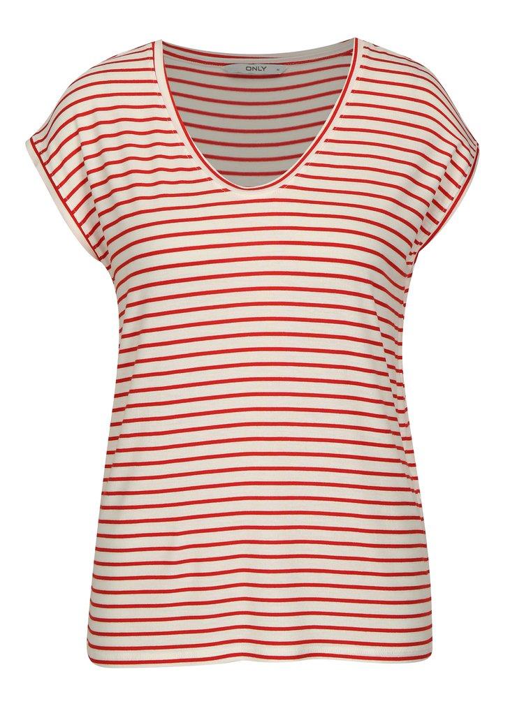 Červeno-krémové pruhované tričko ONLY Sannie