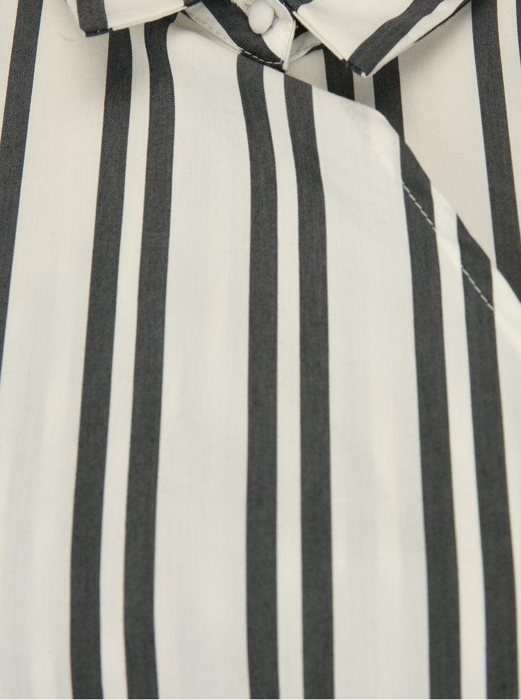 Rochie camasa cu dungi crem & gri si cordon - Selected Femme Evelyn