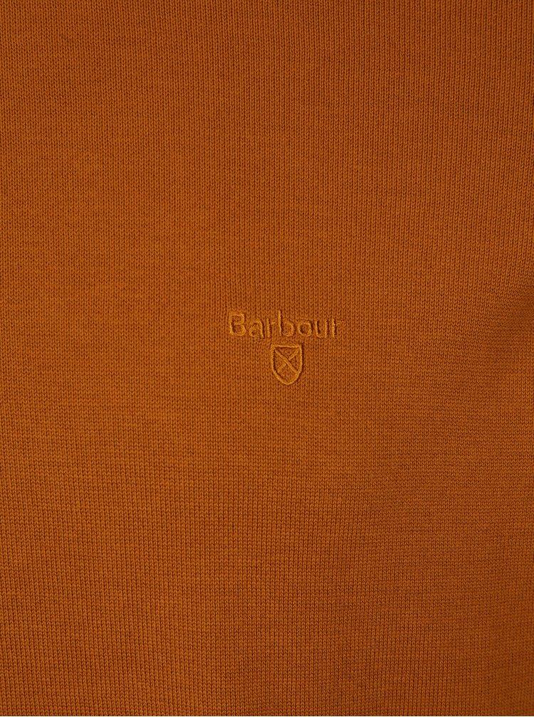 Oranžový svetr s výšivkou Barbour Pima