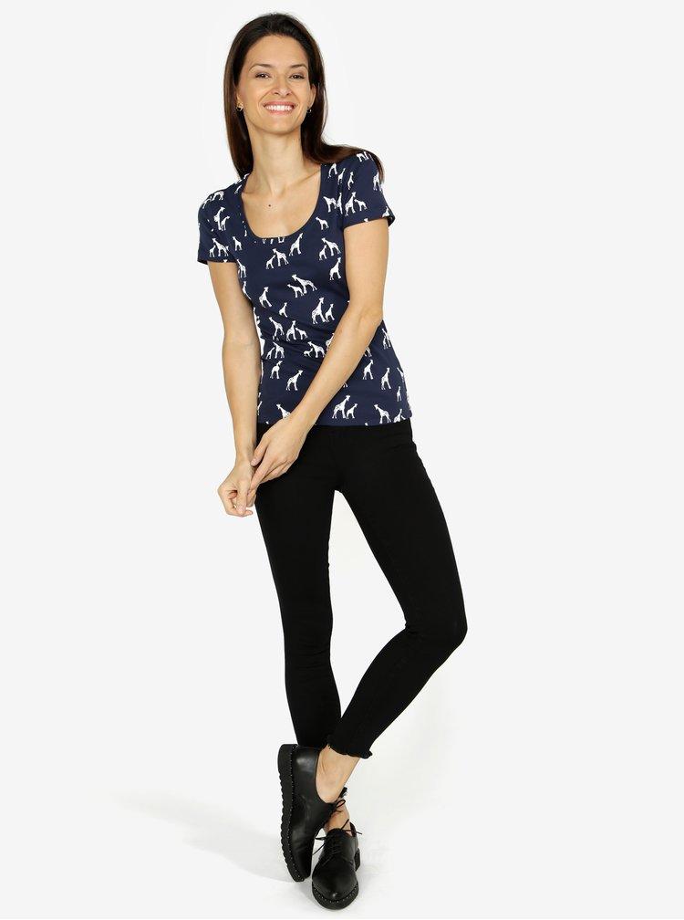 Tmavě modré dámské vzorované tričko M&Co