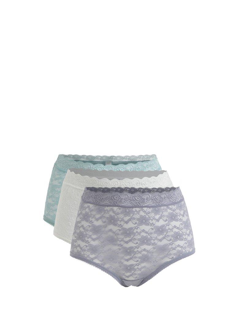 Sada tří krajkových kalhotek ve fialové bílé a zelené barvě M&Co