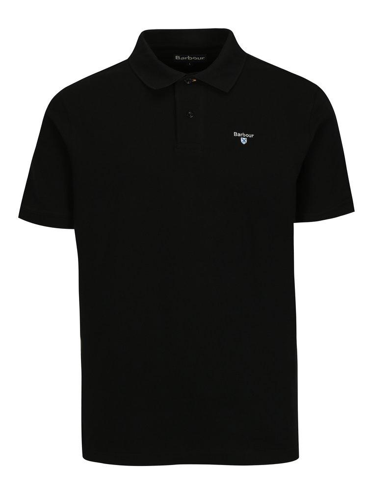 Černé polo tričko s výšivkou Barbour Sports