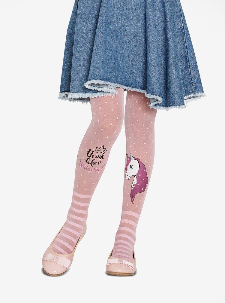 Růžové holčičí puntíkované punčocháče s motivem jednorožce Penti Pretty Unicorn 30 DEN