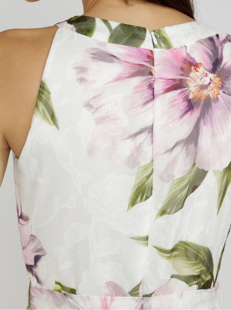 Krémová květované maxišaty s páskem M&Co