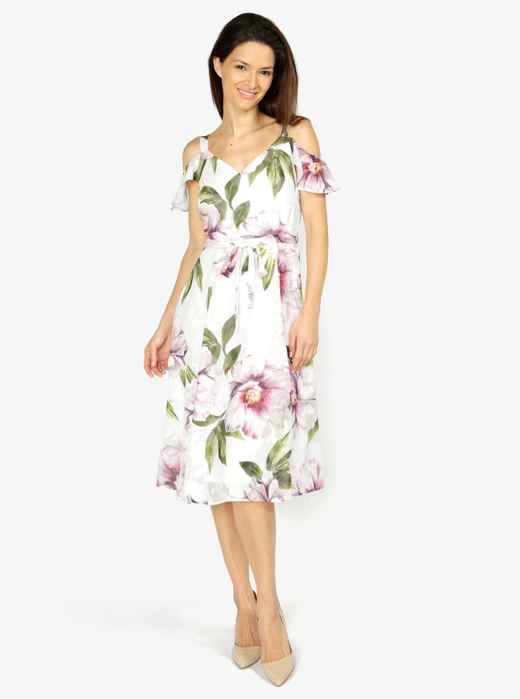 Rochie crem cu volane si print floral M&Co