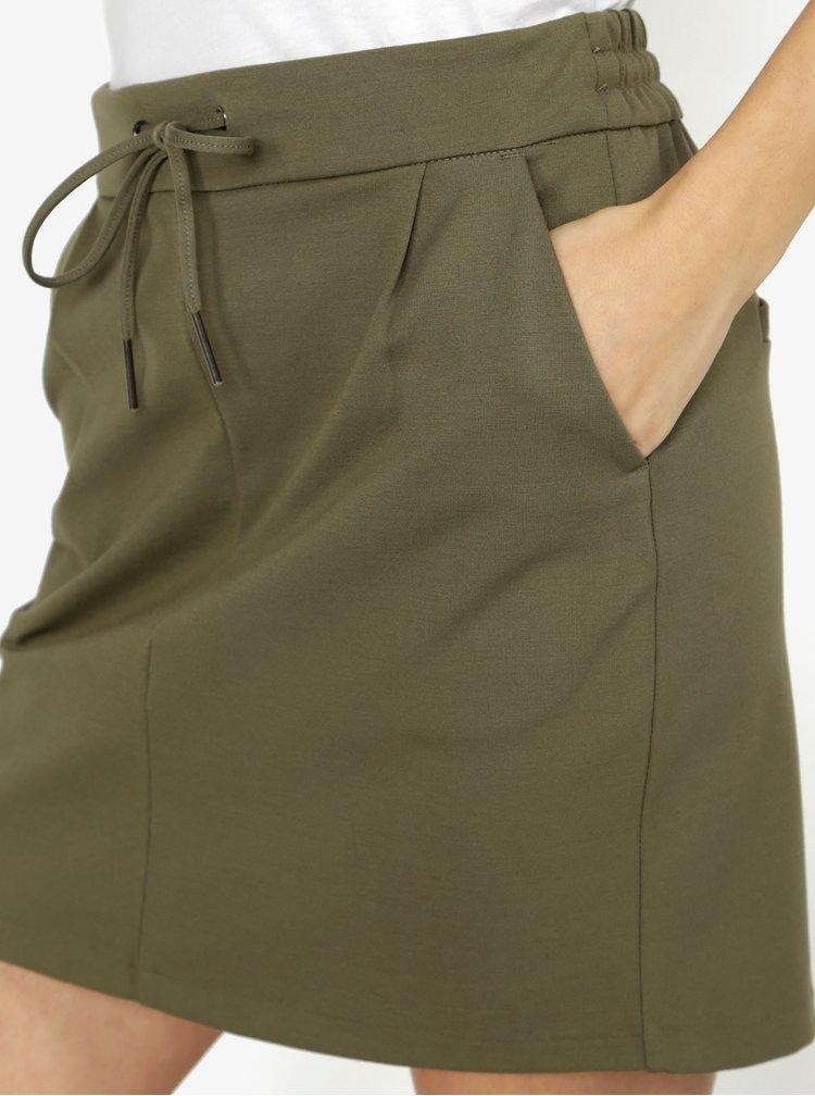 Khaki sukně s elastickým pasem VERO MODA Eva