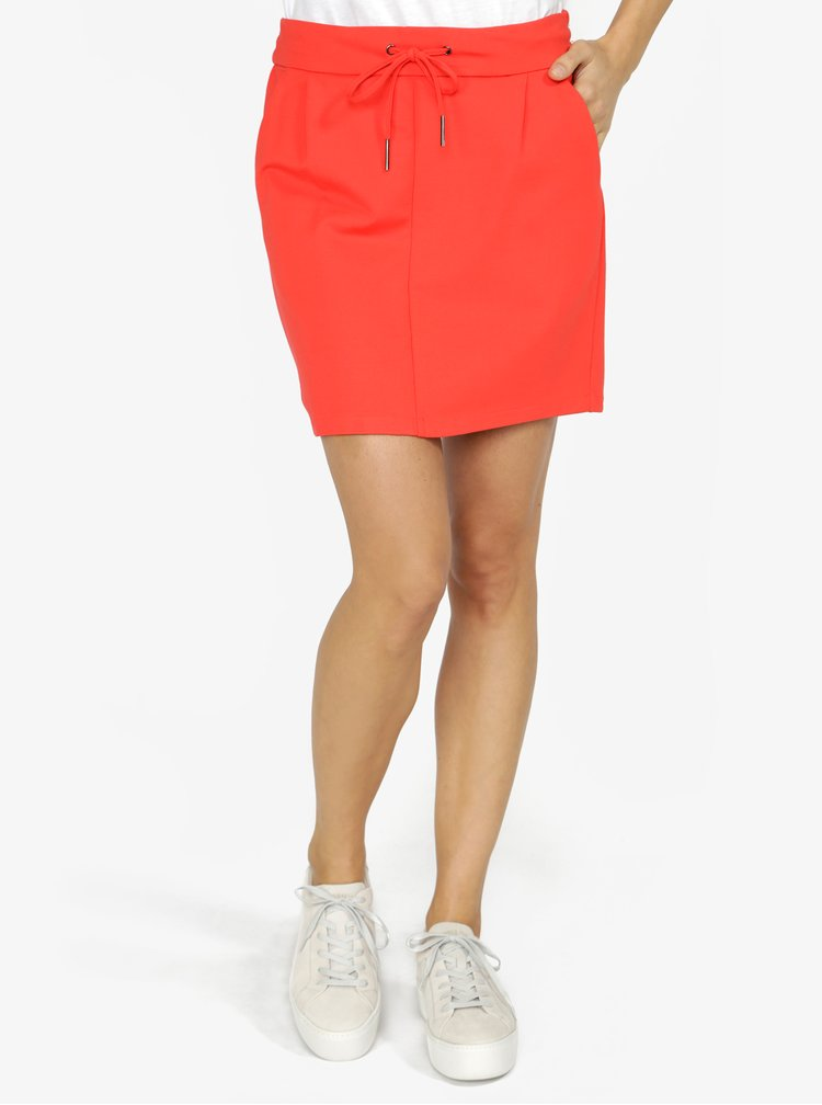 Červená sukně s elastickým pasem VERO MODA Eva