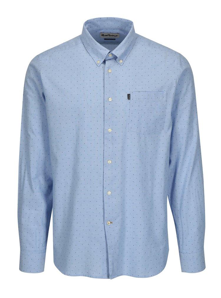 Světle modrá puntíkovaná tailored fit košile Barbour Owen