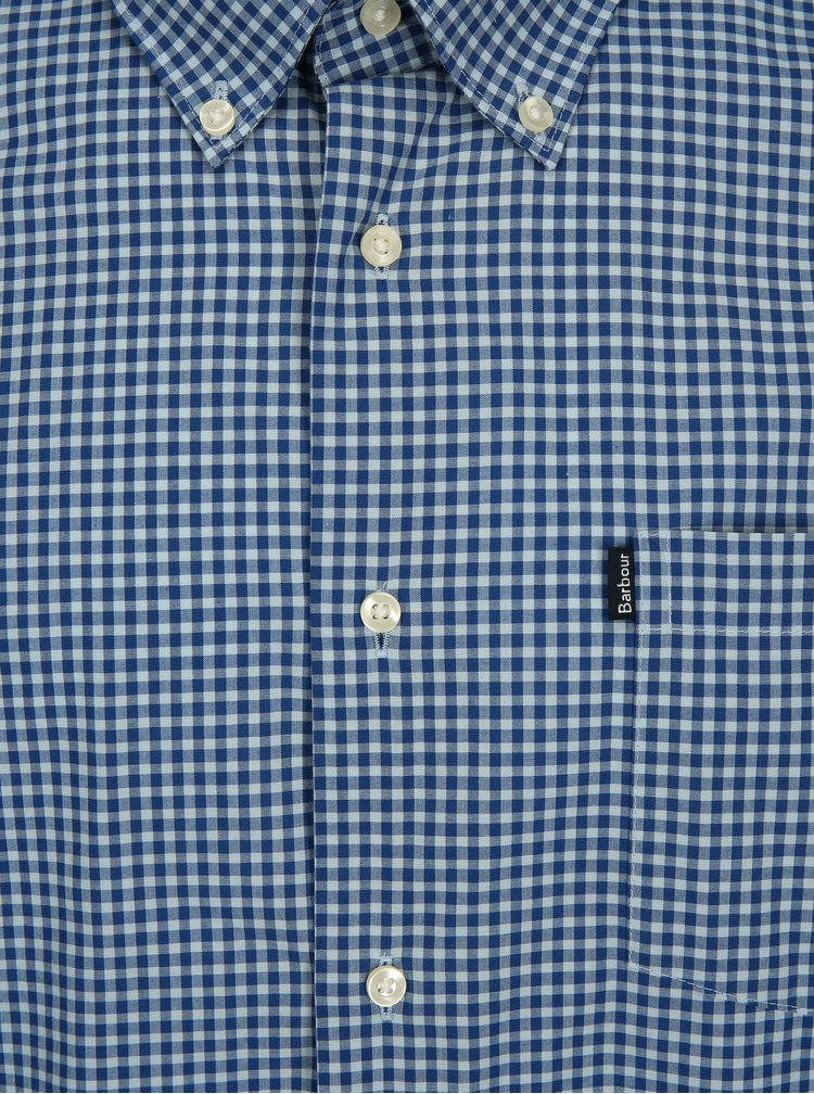 Modrá kostkovaná tailored fit košile Barbour Leonard