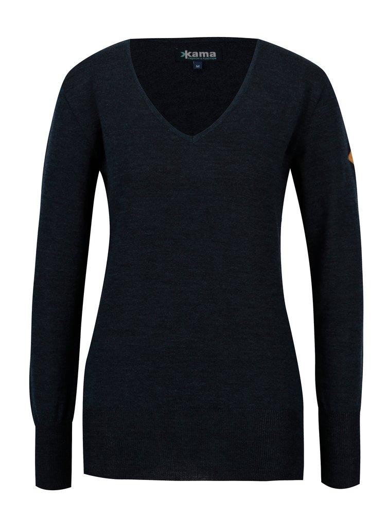 Tmavě modrý dámský svetr z Merino vlny Kama