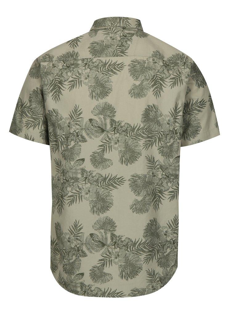 Světle zelená vzorovaná slim fit košile s krátkým rukávem ONLY & SONS Nelson