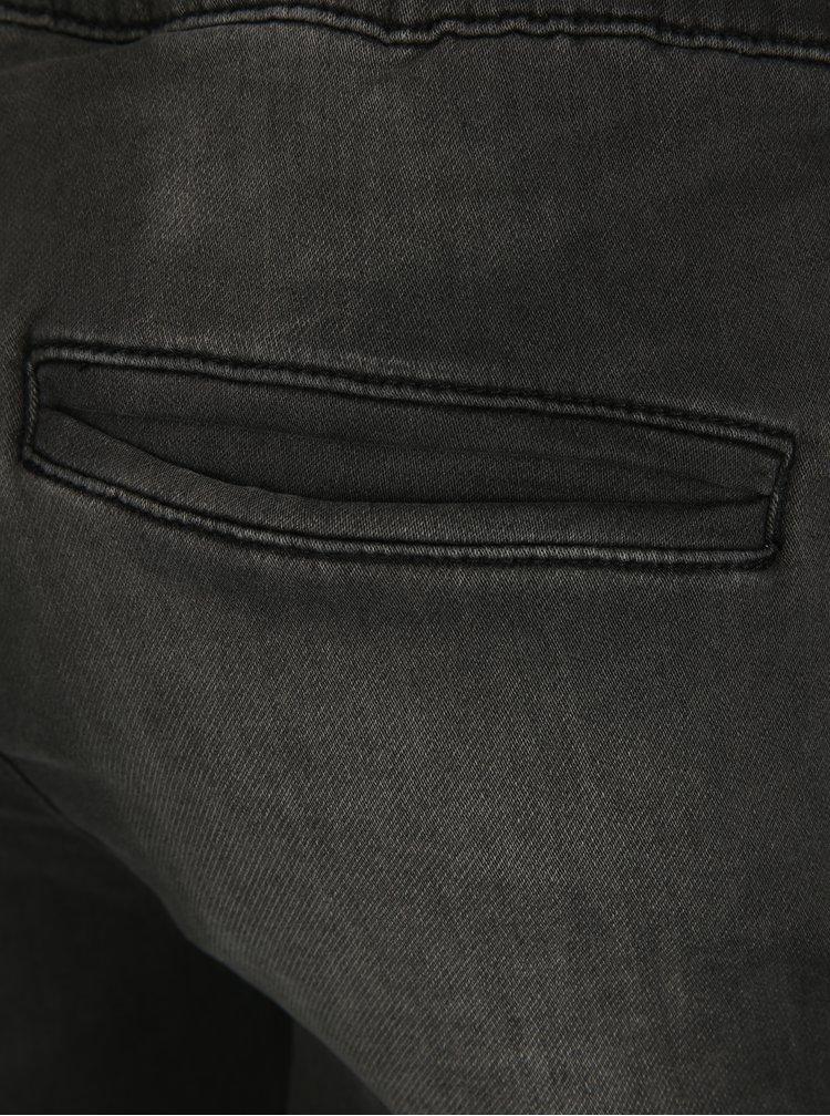 Tmavě šedé džínové kraťasy s pružným pasem ONLY & SONS Linus