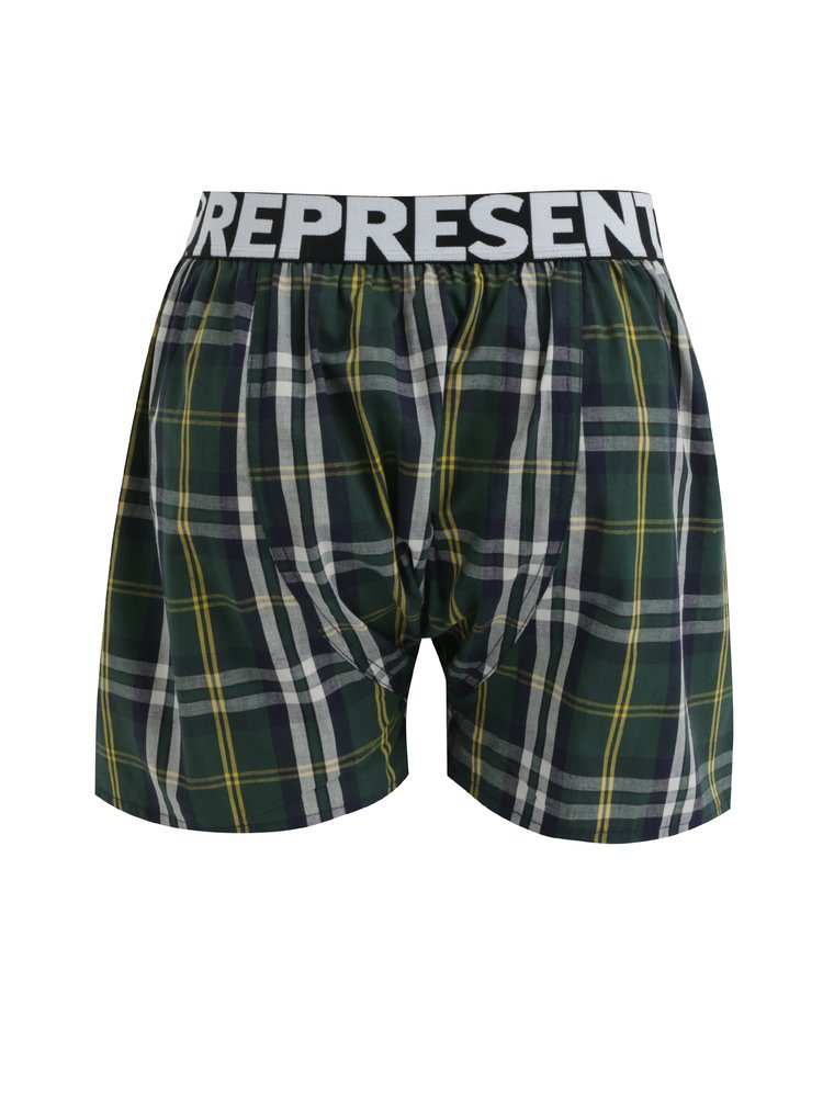 Tmavě zelené kárované trenýrky Represent Mikebox