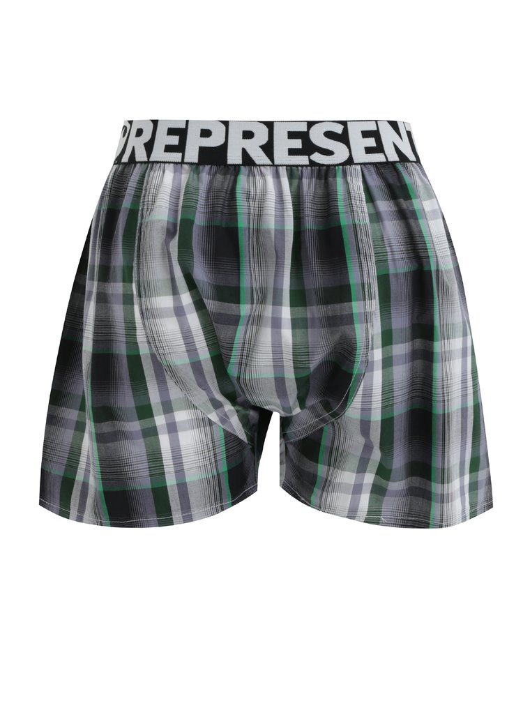 Šedo-zelené kárované trenýrky Represent Mikebox