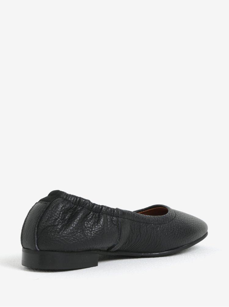 Černé kožené baleríny Selected Femme Sana