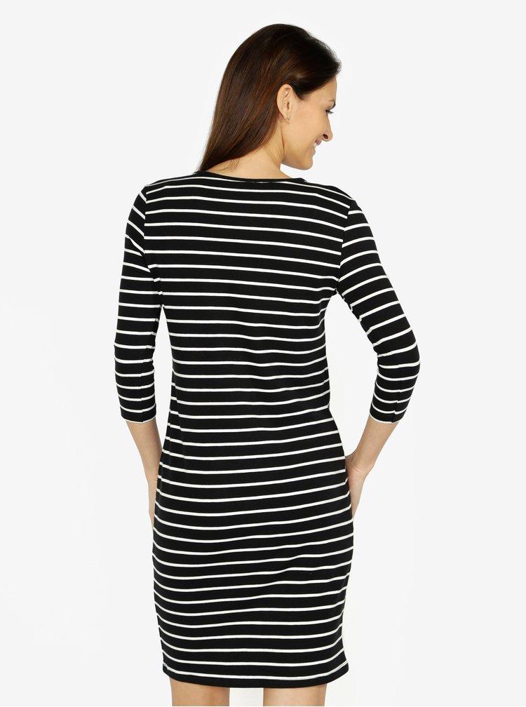 Krémovo-černé pruhované šaty s nášivkou VERO MODA Lirose