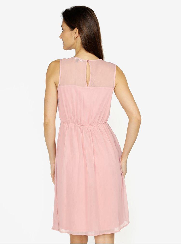 Růžové šaty s krajkou VERO MODA Dacey