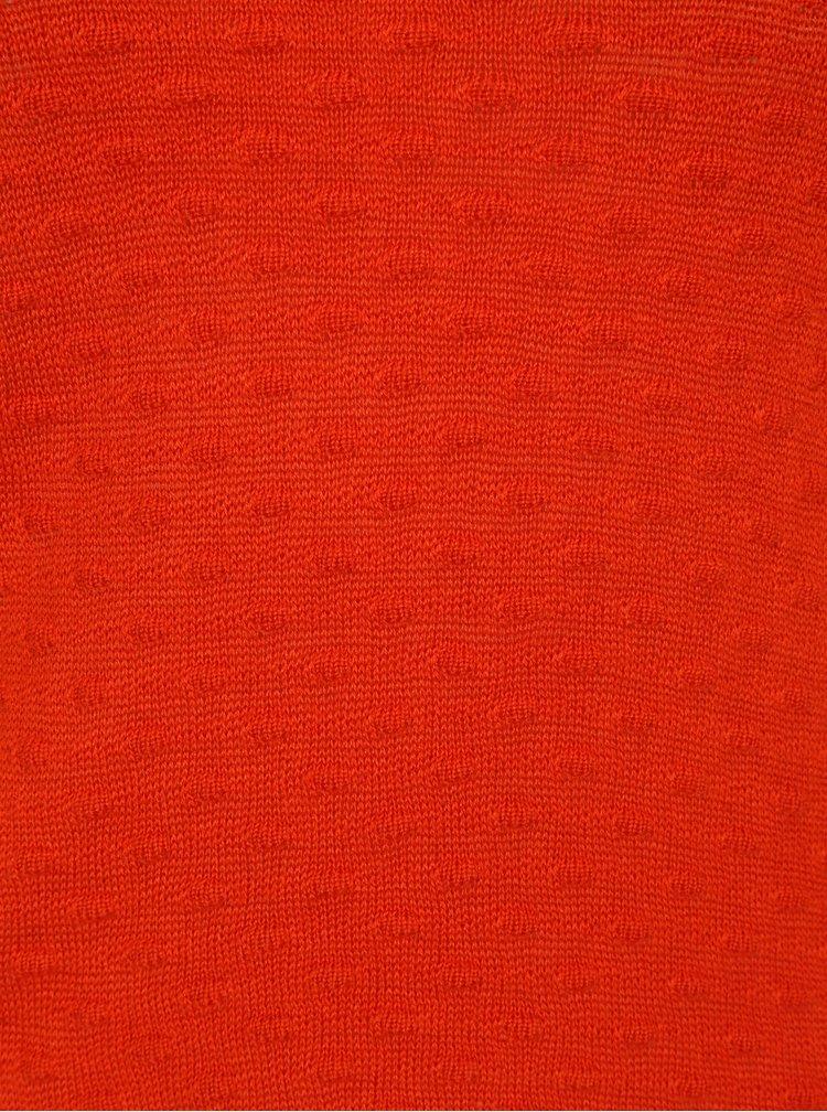 Pulover subtire oranj cu model discret - VILA Sarafina