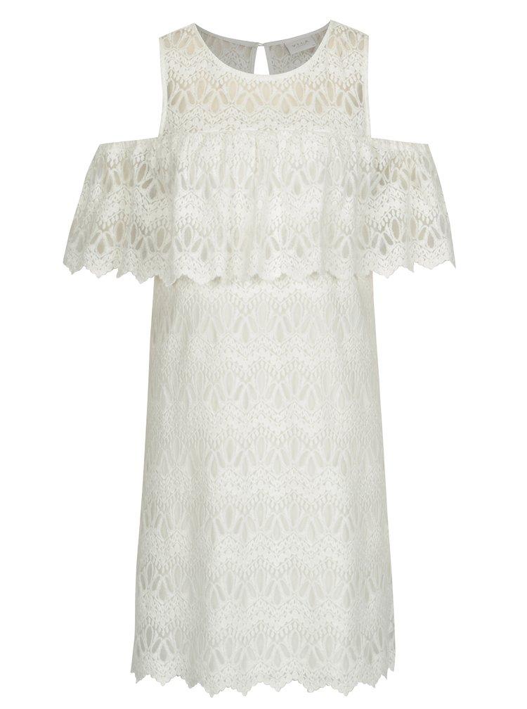 Krémové krajkové šaty s průstřihy na ramenou VILA Winstock