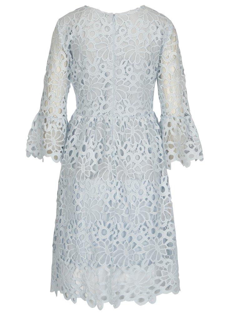 Světle modré krajkové šaty s volány na rukávech VILA Jaco