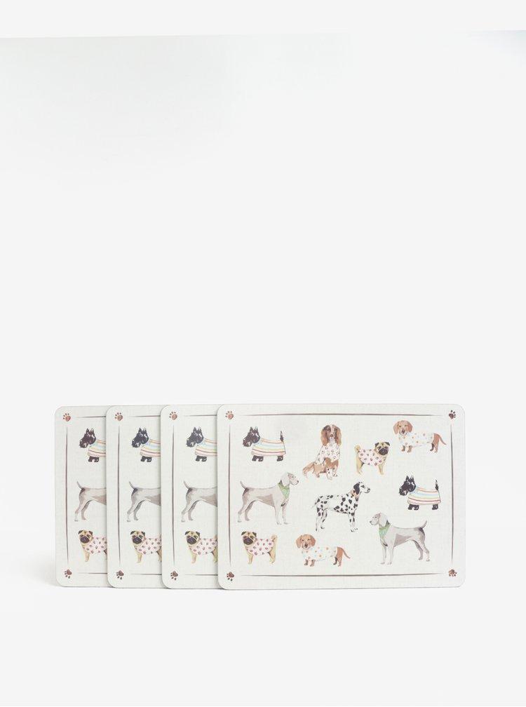 Sada čtyř prostírání v krémové barvě s motivem psů Cooksmart