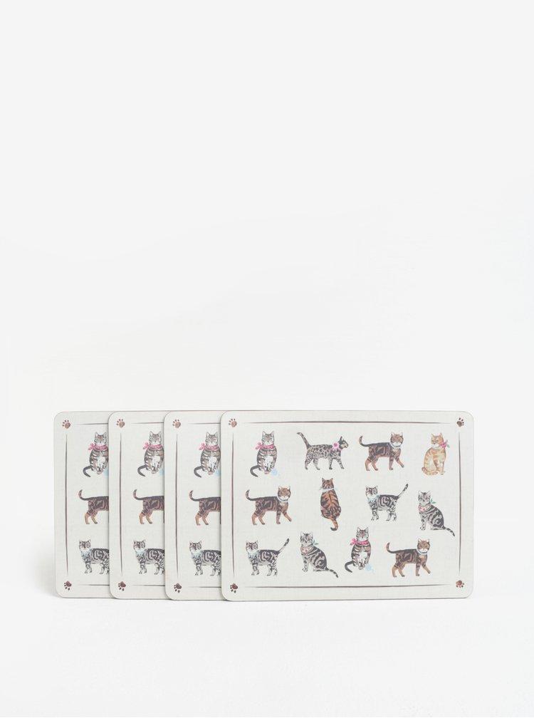 Sada čtyř prostírání v krémové barvě s motivem koček Cooksmart