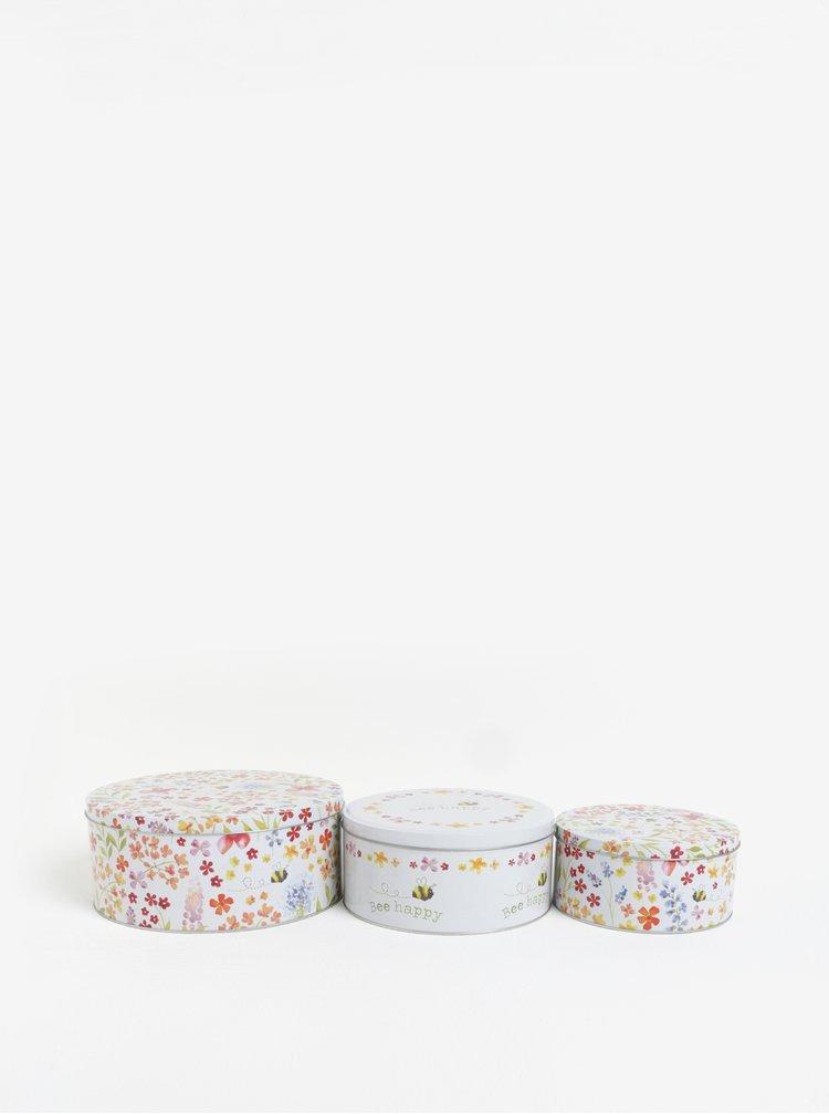 Set de 3 cutii din metal albe cu print - Cooksmart