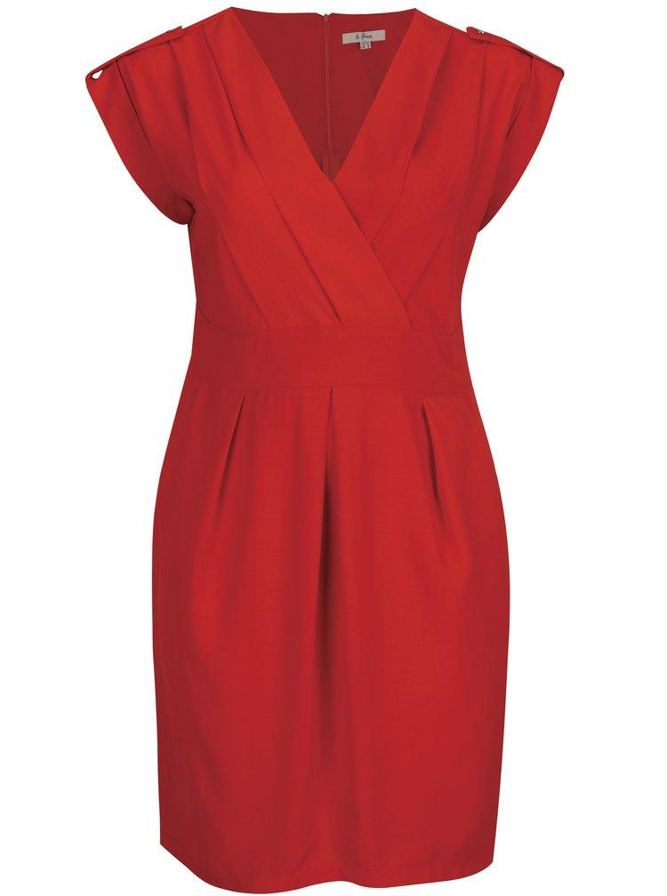 Červené šaty s překládaným výstřihem La Lemon