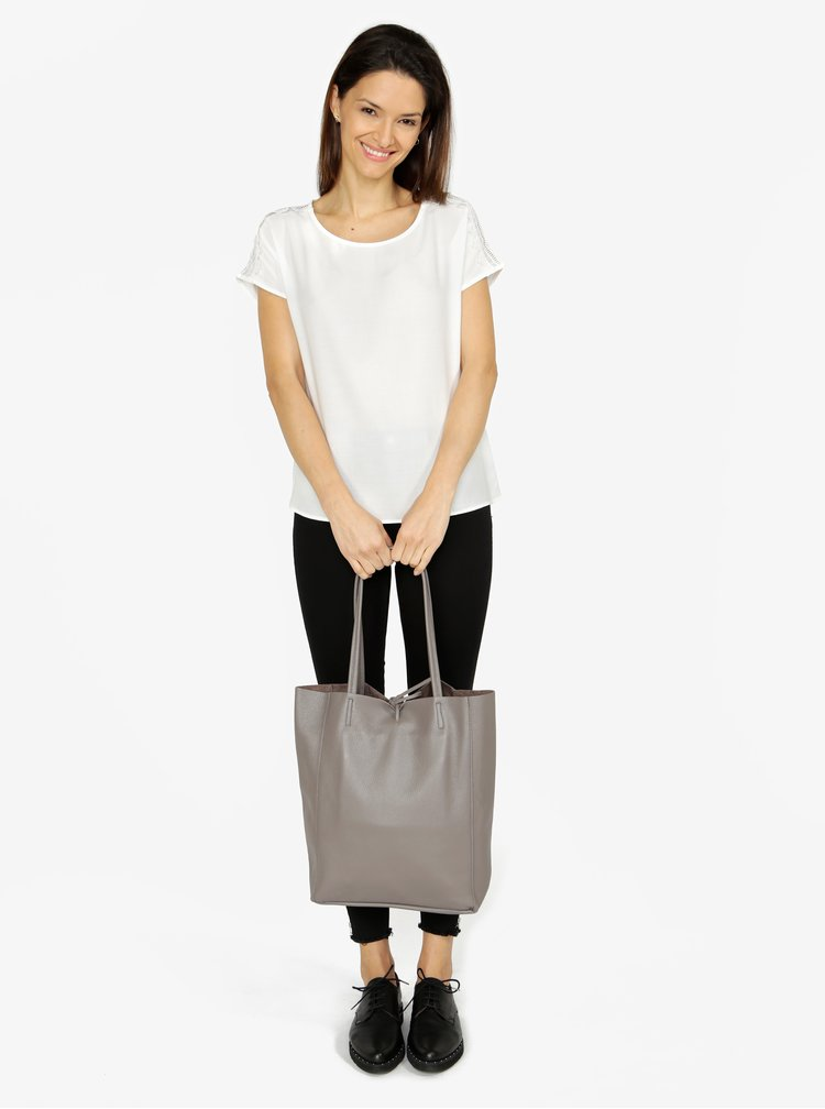 Geanta shopper gri ZOOT Simple din piele