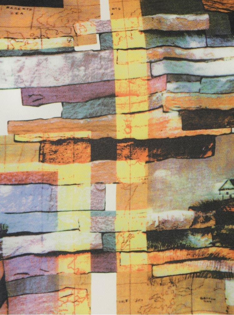 Rochie asimetrica galbena cu print abstract La Lemon